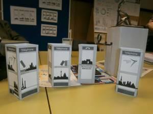 Eine Auswahl der Designs für die BiblioboXX aus der Klasse der Ickedeigner der Marcel-Breuer-Schule, Berlin-Weißensee. Bild. J. Hayden