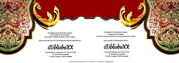 Einladungskarte für die Eröffnund der BiblioboXX in Versailles/Frankreich
