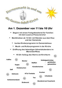 Plakat zum Sternenmarkt am 1. Advent 2013