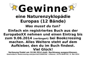 Da die BücherboXX länger am Standort stehen bleiben kann, ist die Frist der Einträge auf den 9. Juni 2014 verlängert worden. Viel Glück!