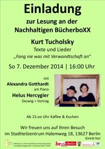 Herzliche Einladung zu Tucholsky mit Helus Hercygier & Alexandra Gotthardt am 7.12.2014 um 16 Uhr
