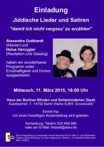 Jiddische Lieder | Termin 11.03.2015 | 18 Uhr
