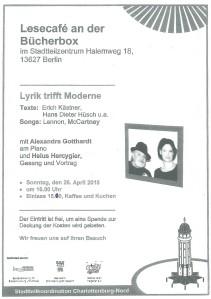 Einlasungsplakat zur Leseung an der BücherboXX am Halemweg am 26. April 2015 Helus Hercygier